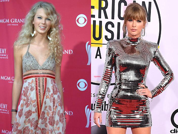 Taylor Swift in 2006 and at the American Music Awards in 2018.