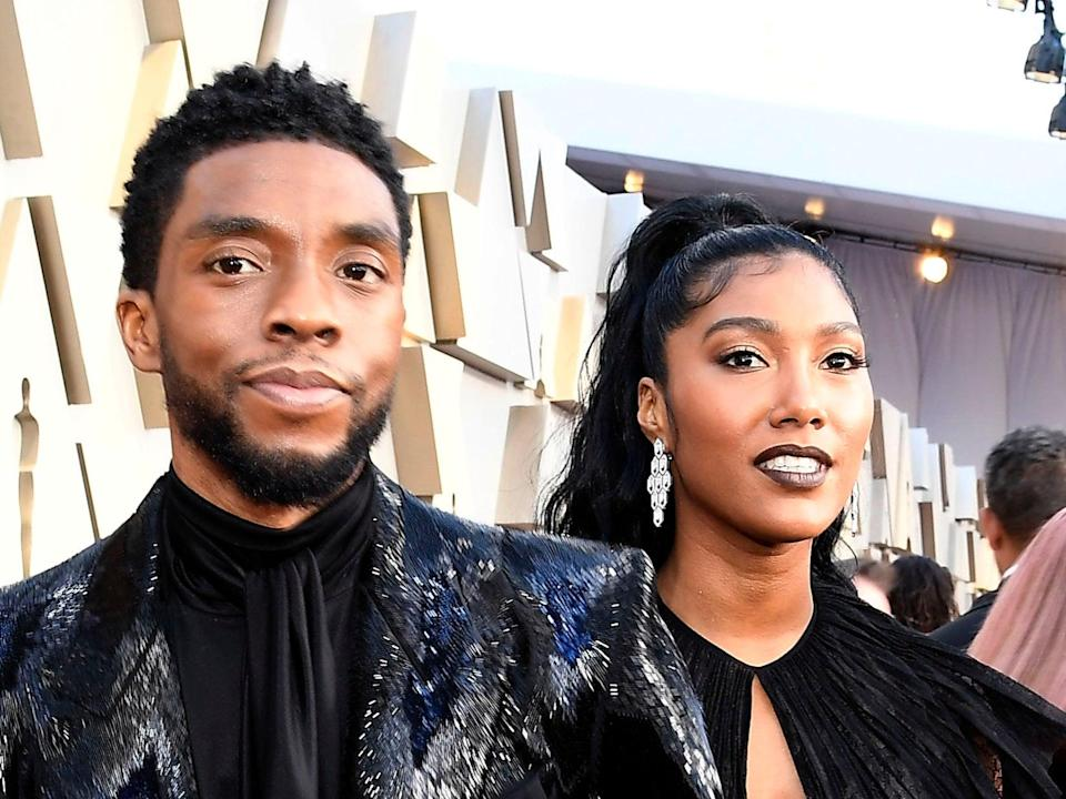 Chadwick Boseman's posthumous award was accepted by his wife, Taylor Simone LedwardGetty Images