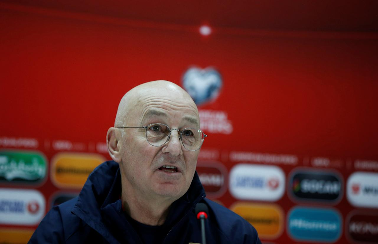 Football Soccer - Serbia's national soccer team news conference - World Cup 2018 Qualifiers - Tbilisi, Georgia - 23/3/17. Serbia's national soccer team head coach Slavoljub Muslin attends a news conference. REUTERS/David Mdzinarishvili