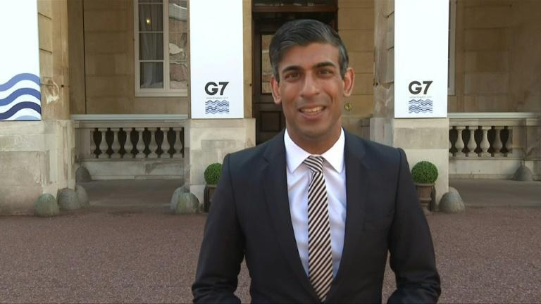 """Britain's finance minister Rishi Sunak hails a """"historic agreement"""" by G7 finance ministers meeting in London to commit to a global minimum corporate tax of at least 15 percent."""