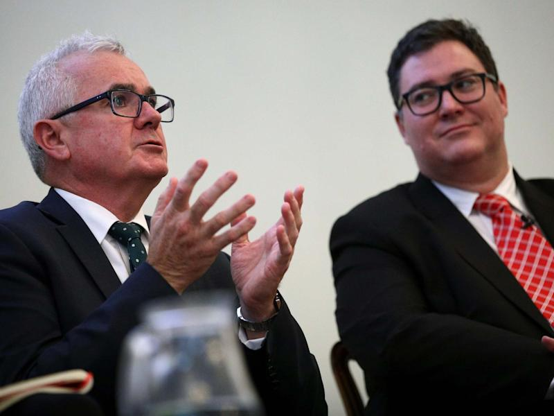 Australian MPs Andrew Wilkie and George Christensen attend a news conference ahead of WikiLeaks founder Julian Assange's U.S. extradition case, in London: REUTERS