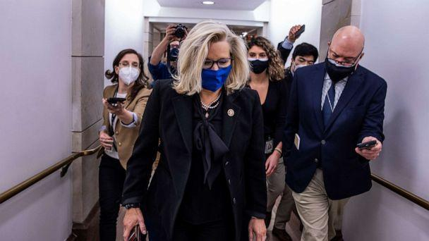 PHOTO: Rep. Liz Cheney, R-Wyo., heads to the House floor to vote at the U.S. Capitol on Feb. 3, 2021 in Washington, D.C. (Tasos Katopodis/Getty Images)