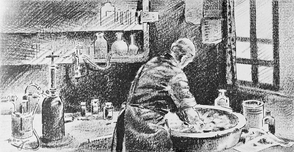 A sketch ofIgnaz Semmelweis washing his hands in a basin
