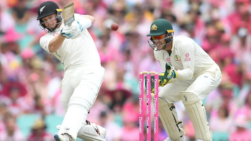 New Zealand debutant Glenn Phillips hits a four in his 52 against Australia at the SCG
