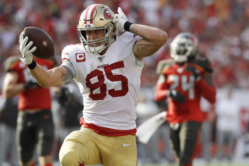 San Francisco 49ers tight end George Kittle (85) runs to the end zone against the Tampa Bay Buccaneers during the first half an NFL football game, Sunday, Sept. 8, 2019, in Tampa, Fla. The touchdown was called back after a penalty. (AP Photo/Chris O'Meara)