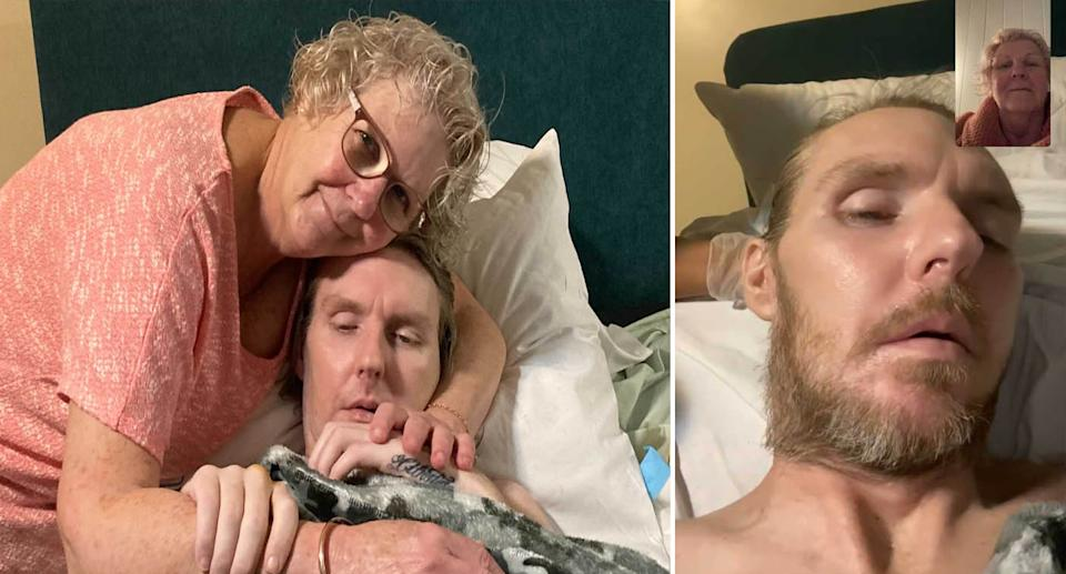 Roz Harris has only been able to video call her dying son since her last visit in May. Source: supplied