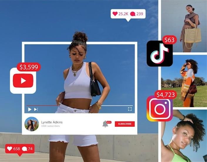 Collage of photos of a woman with social media app icons, notification icons and dollar amounts around her.