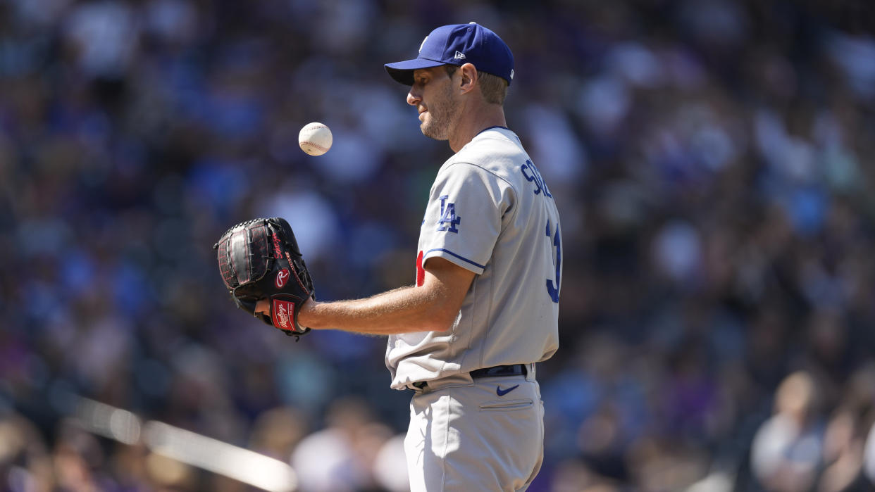 Los Angeles Dodgers pitcher Max Scherzer is a candidate to win NL Cy Young. (AP Photo/David Zalubowski)