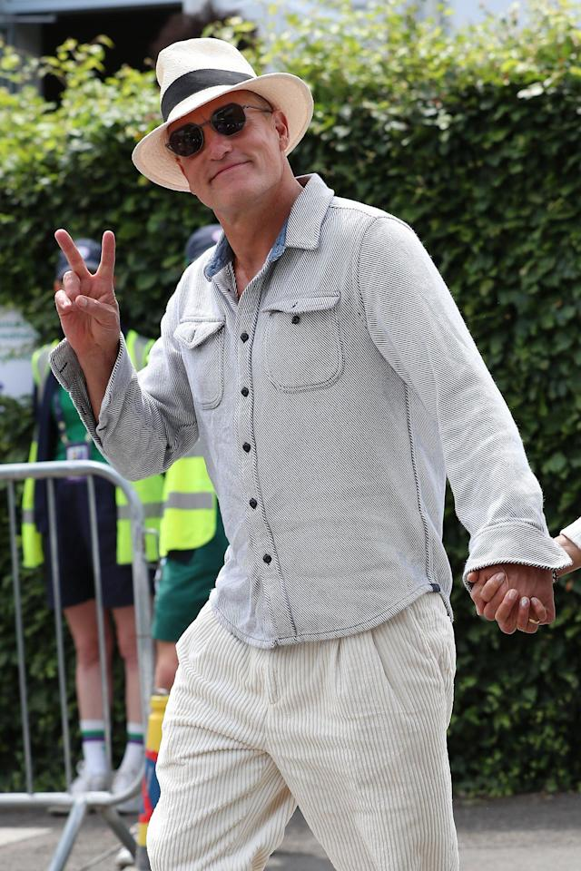 Woody Harrelson attends the Men's Singles Final at the Wimbledon tennis tournament in London on Sunday.