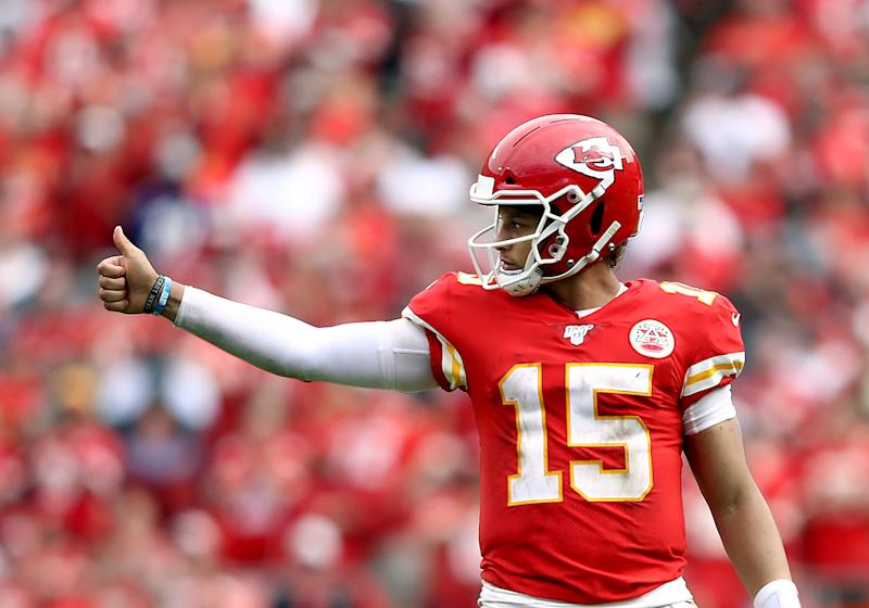 KANSAS CITY, MISSOURI - SEPTEMBER 22: Quarterback Patrick Mahomes #15 of the Kansas City Chiefs celebrates as the Chiefs defeat the Baltimore Ravens 33-28 to win the game at Arrowhead Stadium on September 22, 2019 in Kansas City, Missouri. (Photo by Jamie Squire/Getty Images)
