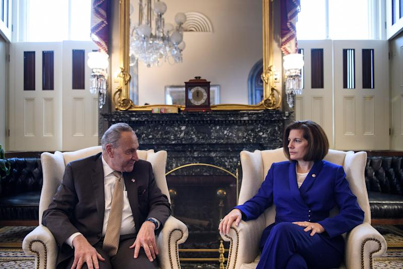 The DSCC, led by Nevada Sen. Catherine Cortez Masto, brought in a record fundraising haul in August. That could help make New York Sen. Chuck Schumer the majority leader of the Senate in 2021. (Photo: BRENDAN SMIALOWSKI via Getty Images)