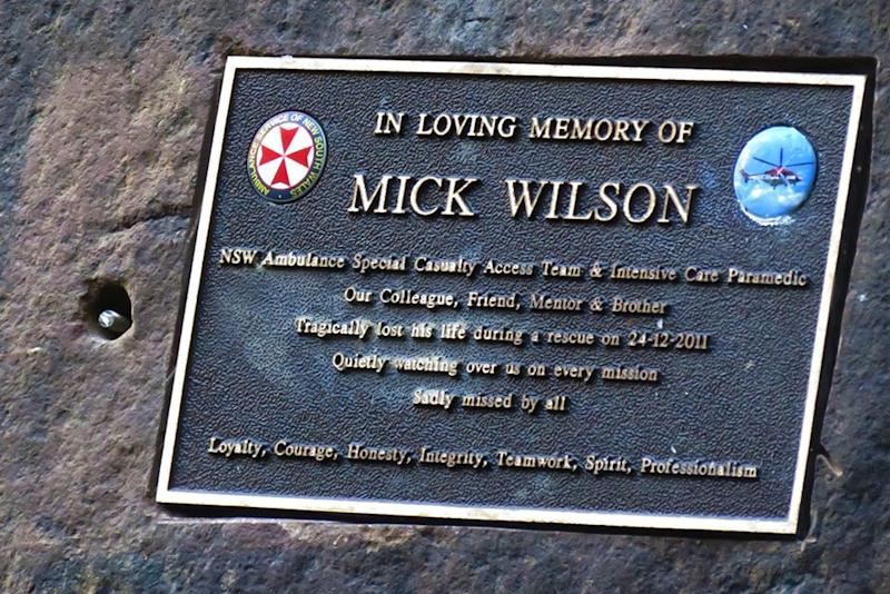 A plaque remembering NSW paramedic Mick Wilson.