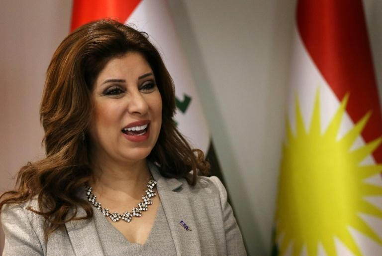 Arbil airport director Talar Faiq Salih gives an interview in her office at Arbil airport, in the capital of Iraq's autonomous northern Kurdish region, on September 28, 2017
