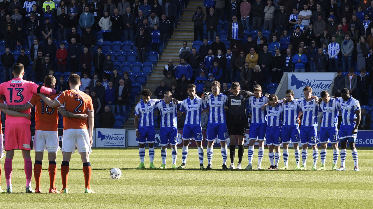 "Britain Football Soccer - Colchester United v Luton Town - Sky Bet League Two - Weston Homes Community Stadium - 25/3/17 General view as a minutes silence is observed in respect for the victims of the London attack before the game Action Images via Reuters / Alan Walter Livepic EDITORIAL USE ONLY. No use with unauthorized audio, video, data, fixture lists, club/league logos or ""live"" services. Online in-match use limited to 45 images, no video emulation. No use in betting, games or single club/league/player publications.  Please contact your account representative for further details."