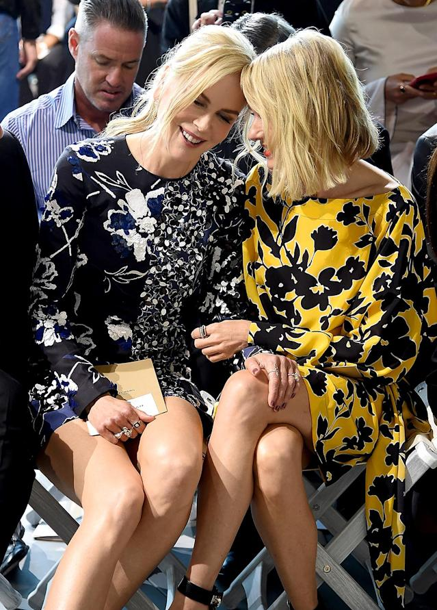 <p>The longtime friends sat in the front row of the Michael Kors presentation at New York Fashion Week. Not that they noticed what was going on outside their conversation… (Photo: Jamie McCarthy/Getty Images for Michael Kors) </p>
