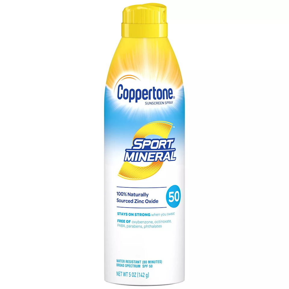 """For the longest time mineral sunscreens were tricky to formulate in a spray form, but brands have finally figured it out. This one is easy to rub in, sweat-resistant, and fragrance-free, so it's great for sensitive skin. The spray makes it easy to apply for even the most sunscreen-adverse among us. $12, Target. <a href=""""https://www.target.com/p/coppertone-sport-mineral-sunscreen-spray-spf-50-5oz/-/A-80164244#lnk=sametab"""" rel=""""nofollow noopener"""" target=""""_blank"""" data-ylk=""""slk:Get it now!"""" class=""""link rapid-noclick-resp"""">Get it now!</a>"""