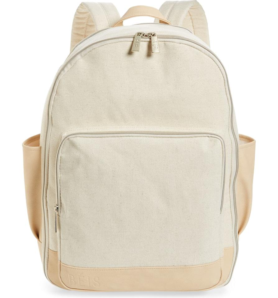 "<p>This <a href=""https://www.popsugar.com/buy/B%C3%A9-Backpack-555015?p_name=B%C3%A9is%20The%20Backpack&retailer=shop.nordstrom.com&pid=555015&price=78&evar1=savvy%3Aus&evar9=47291361&evar98=https%3A%2F%2Fwww.popsugar.com%2Fsmart-living%2Fphoto-gallery%2F47291361%2Fimage%2F47291456%2FB%C3%A9is-Backpack&list1=shopping%2Ctravel%2Cbags%2Cbackpacks%2Ctravel%20style%2Ctravel%20goods&prop13=mobile&pdata=1"" rel=""nofollow"" data-shoppable-link=""1"" target=""_blank"" class=""ga-track"" data-ga-category=""Related"" data-ga-label=""https://shop.nordstrom.com/s/beis-the-backpack/5305453/full?origin=category-personalizedsort&amp;breadcrumb=Home%2FWomen%2FHandbags%2FBackpacks&amp;color=black"" data-ga-action=""In-Line Links"">Béis The Backpack</a> ($78) is a great choice for a weekend trip. Plus, we love the side pockets for water bottles and more.</p>"