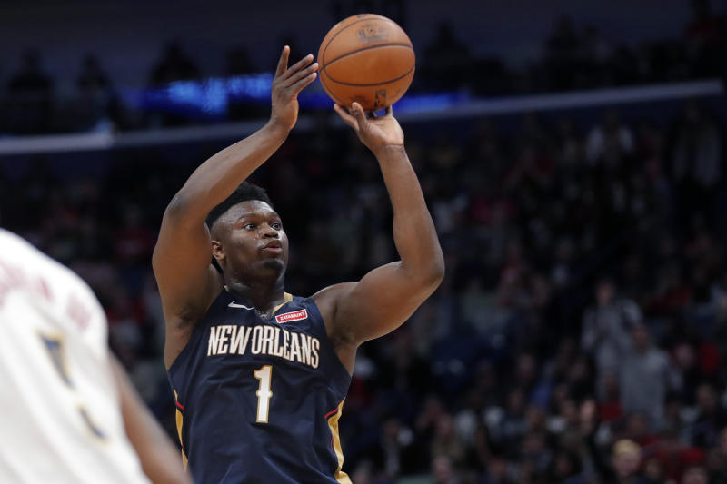 New Orleans Pelicans forward Zion Williamson (1) shoots in the second half of an NBA basketball game against the Denver Nuggets in New Orleans, Friday, Jan. 24, 2020. (AP Photo/Gerald Herbert)
