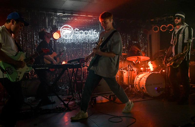 NORTH SHIELDS, ENGLAND - SEPTEMBER 20: Sam Fender celebrates topping the charts with exclusive Spotify homecoming show at King Street Social Club on September 20, 2019 in North Shields, England. (Photo by David M. Benett/Dave Benett/Getty Images for Spotify)