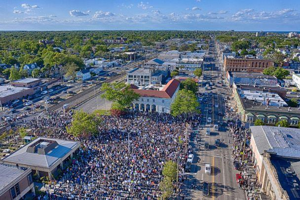 PHOTO: Drone footage of June 1st Asbury Park protest organized by Felicia Simmons. (David Ziegler)