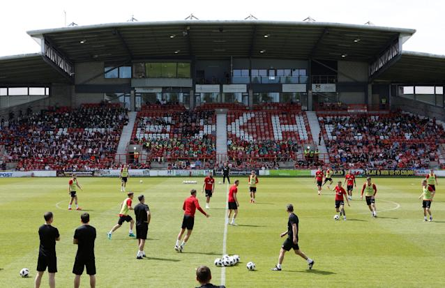 Soccer Football - Wales Training - The Racecourse, Wrexham, Britain - May 21, 2018 General view during Wales training Action Images via Reuters/Craig Brough