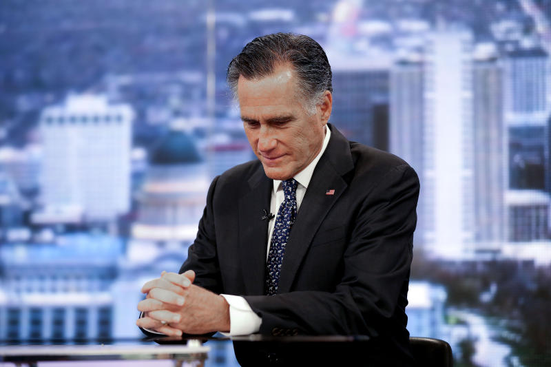 Sen. Mitt Romney, R-Utah, speaks with KSL-TV's Doug Wright during an interview in Salt Lake City on Thursday, Feb. 6, 2020.  Republicans in the state are unusually divided on the president, so while some were heartened to see Romney cast what he described as an agonizing vote dictated by his conscience, Trump supporters were left angry and frustrated.  (Laura Seitz/The Deseret News via AP)