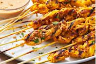 """<p>The peanut sauce is the ultimate wingman.</p><p>Get the recipe from <a href=""""https://www.delish.com/cooking/recipe-ideas/a27198099/chicken-satay-recipe/"""" rel=""""nofollow noopener"""" target=""""_blank"""" data-ylk=""""slk:Delish"""" class=""""link rapid-noclick-resp"""">Delish</a>.</p>"""