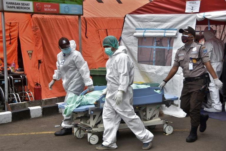 Many hospitals in Indonesia have been overwhelmed by the latest coronavirus wave