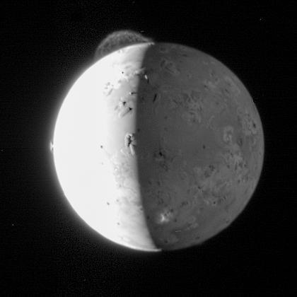This still from five-frame photo sequence by NASA's New Horizons mission captures the giant plume from the Tvashtar volcano on Jupiter's moon Io. Only the upper part of the plume is visible from this vantage point. The plume's source is 130 km