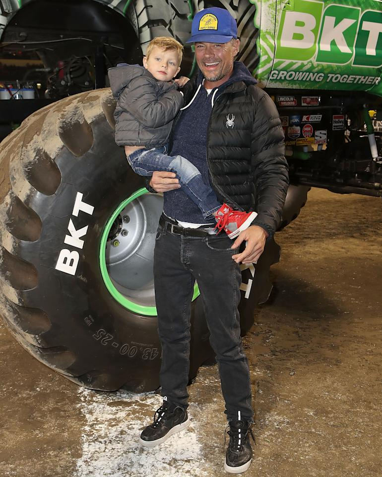 "<p>Also on single dad duty was Josh Duhamel, who was there with his son, Axl. The guys posed next to some <em>giant</em> wheels. (Keep in mind: The actor is 6-foot-4.) ""Had a blast at Monster Jam!!"" wrote Duhamel, who reportedly has a <a rel=""nofollow"" href=""https://www.yahoo.com/entertainment/josh-duhamel-dating-eiza-gonzalez-183245428.html"">new romance brewing with Eiza González</a> following his split with Fergie last year. (Photo: Ari Perilstein/Getty Images for Feld Entertainment) </p>"