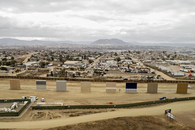 <p>Prototype U.S.-Mexico border walls stand in this aerial photograph taken over San Diego, Calif., on Monday, Oct. 30, 2017. (Photo: Daniel Acker/Bloomberg via Getty Images) </p>
