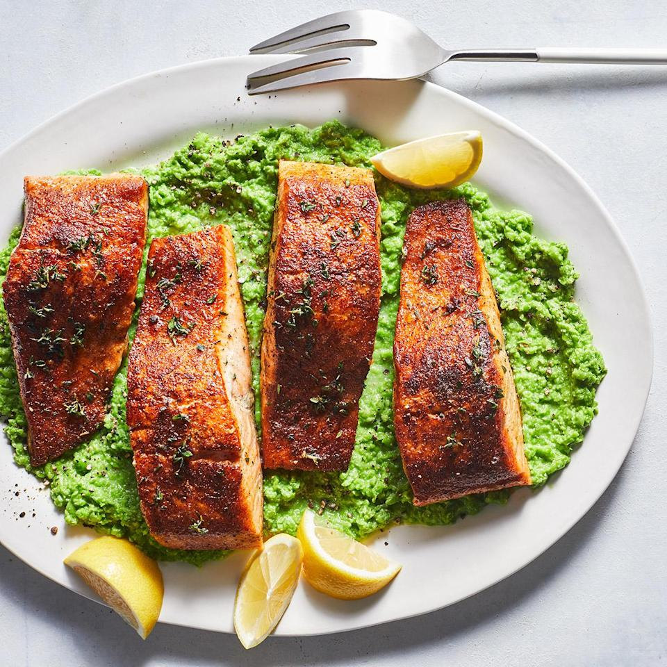 <p>Cooking butter until it browns adds a toasty, nutty flavor to this easy skillet salmon recipe. Here it gives Old Bay-rubbed salmon a chef-worthy finish--not bad for 20 minutes!</p>
