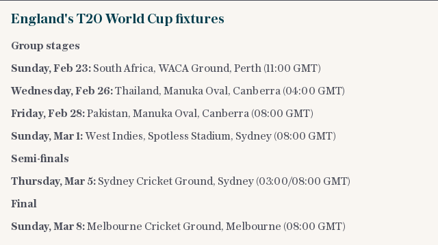 England's T20 World Cup fixtures