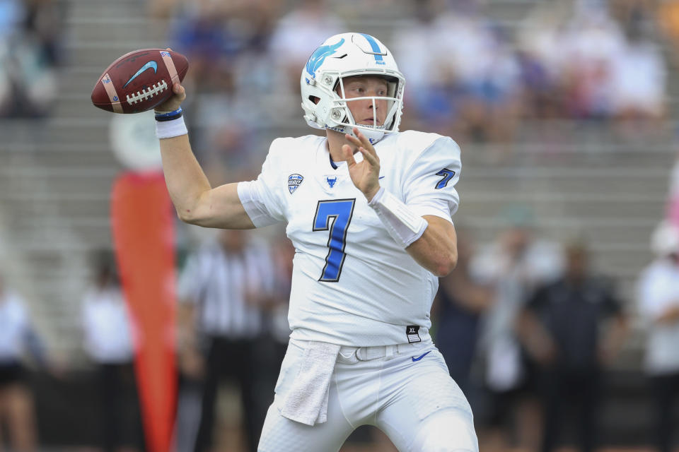 Buffalo quarterback Kyle Vantrease (7) looks to pass during the first half of a NCAA college football game against Coastal Carolina in Buffalo, N.Y. on Saturday, Sept. 18, 2021. (AP Photo/Joshua Bessex)
