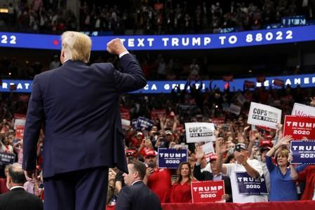 U.S. President Donald Trump holds a campaign rally in Dallas, Texas