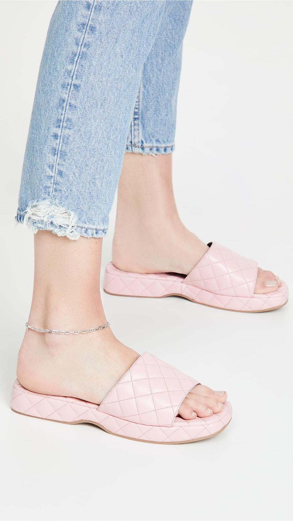 <p>These cushioned, quilted <span>By Far Lilo Slides</span> ($504) are a springtime dream.</p>
