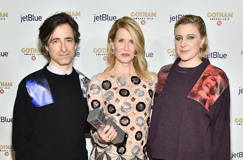 Noah Baumbach, Laura Dern, and Greta Gerwig pose backstage at the IFP's 29th Annual Gotham Independent Film Awards at Cipriani Wall Street on December 2, 2019, in New York City.