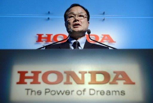 Takanobu Ito, president and CEO of Honda Motor makes a speech in Tokyo on September 21, 2012