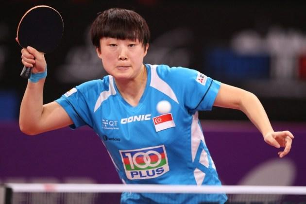 Singapore's Feng Tianwei in Paris last month, during the fourth round of the Women's Singles of the World Table Tennis Championships. (AFP PHOTO / THOMAS SAMSON)