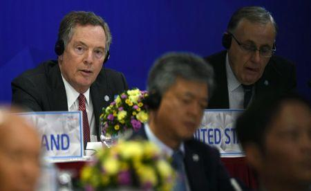 US Trade Representative Robert Lighthizer listens while attending a joint press conference held on the sideline of the APEC Ministers Responsible For Trade (APEC MRT 23) meeting in Hanoi, Vietnam, May 21, 2017. REUTERS/Hoang Dinh Nam/Pool