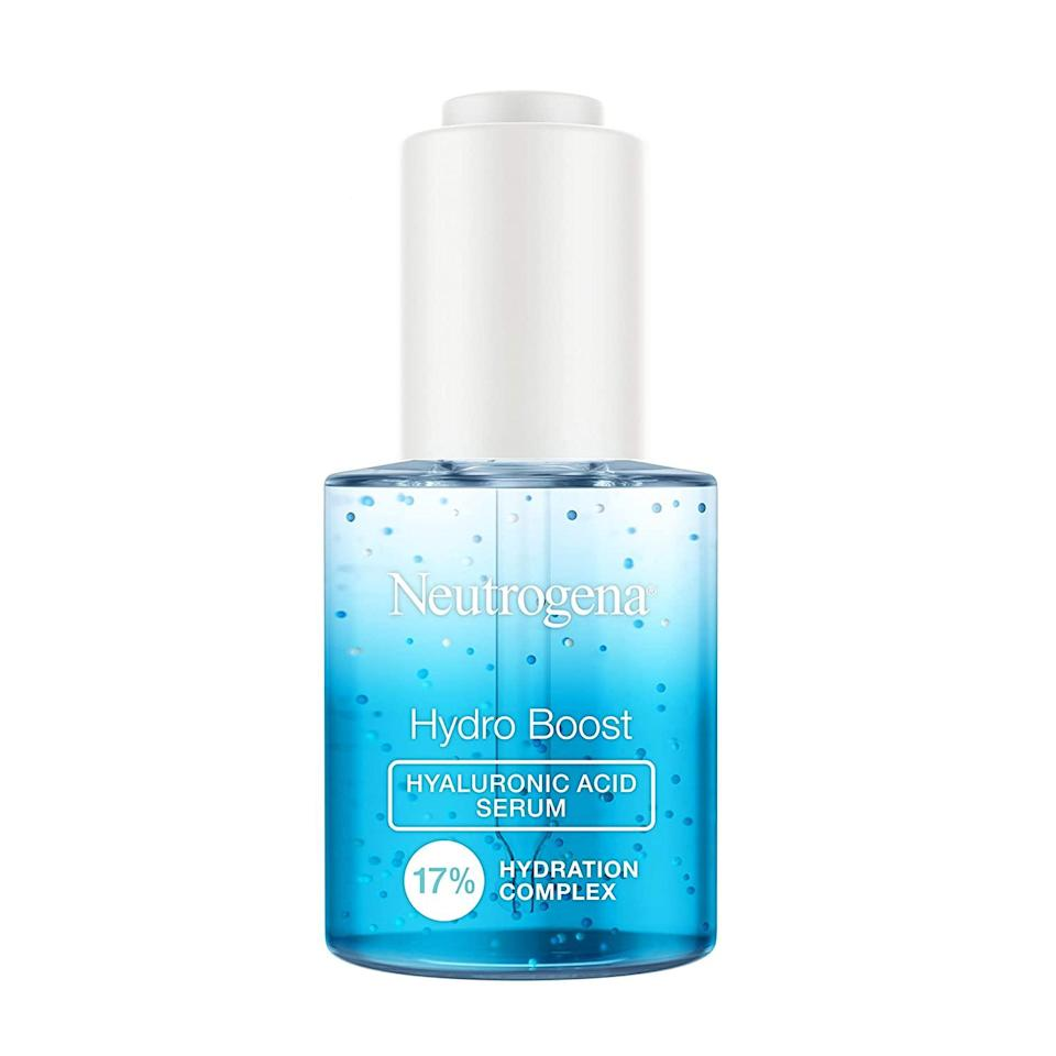 """<a href=""""https://www.glamour.com/story/best-hyaluronic-acid-moisturizers?mbid=synd_yahoo_rss"""" rel=""""nofollow noopener"""" target=""""_blank"""" data-ylk=""""slk:Hyaluronic acid"""" class=""""link rapid-noclick-resp"""">Hyaluronic acid</a> continues to be one of the most popular ingredients for hydrating dry skin—you can even try <a href=""""https://www.glamour.com/story/best-daily-skin-care-routine-morning-night?mbid=synd_yahoo_rss"""" rel=""""nofollow noopener"""" target=""""_blank"""" data-ylk=""""slk:sealing it in with an oil"""" class=""""link rapid-noclick-resp"""">sealing it in with an oil</a> for maximum moisturizing benefits. This drugstore gem from Neutrogena contains high- and low-weight HA molecules that penetrate your skin's surface and continuously deliver moisture for a dewy, glowing complexion. $18, Amazon. <a href=""""https://www.amazon.com/Neutrogena-Hyaluronic-Hydration-Lightweight-Fragrance-Free/dp/B08937VD6Z/"""" rel=""""nofollow noopener"""" target=""""_blank"""" data-ylk=""""slk:Get it now!"""" class=""""link rapid-noclick-resp"""">Get it now!</a>"""