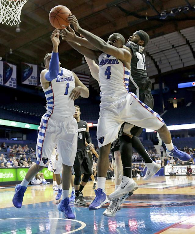 Providence forward LaDontae Henton, right, and DePaul guard Edwind McGhee, center, and forward DeJuan Marrero battle for a rebound during the first half of an NCAA college basketball game in Rosemont, Ill., on Saturday, Feb. 1, 2014. (AP Photo/Nam Y. Huh)