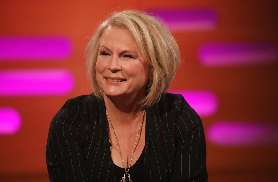 Jennifer Saunders during the filming for the Graham Norton Show at BBC Studioworks 6 Television Centre, Wood Lane, London, to be aired on BBC One on Friday evening. (Photo by Isabel Infantes/PA Images via Getty Images)