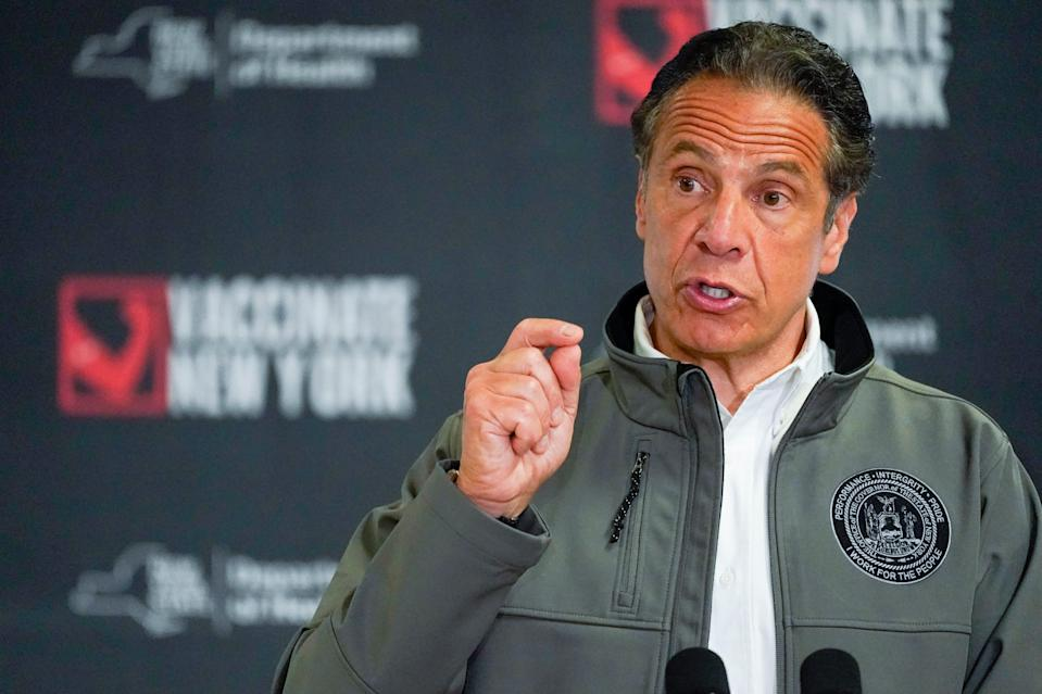 Gov. Andrew Cuomo speaks during a news conference, Wednesday, April 14, 2021 at a pop up COVID-19 vaccination site at Belmont Park in Elmont, N.Y.
