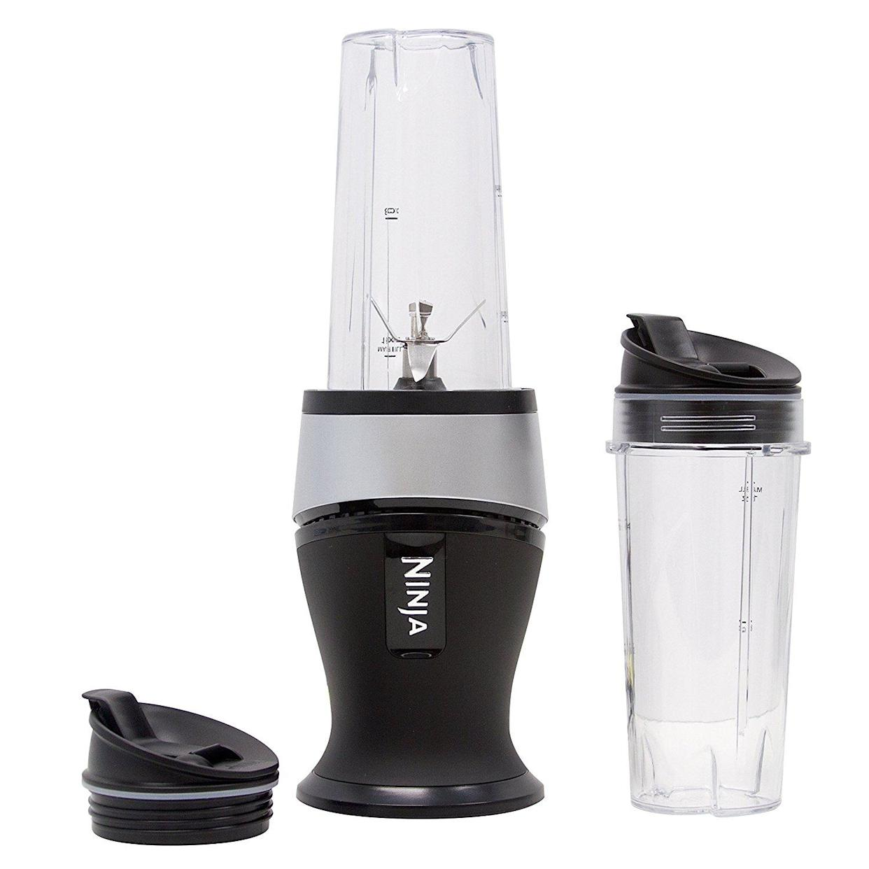 The blender comes with two 16-oz lidded cups, perfect for on-the-go sipping. (Photo: Walmart)