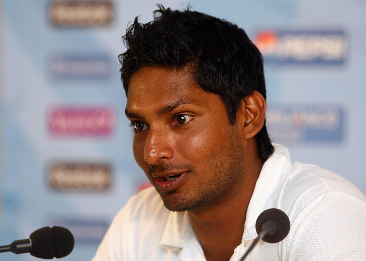 LONDON, ENGLAND - MAY 31:  Sri Lanka captain Kumar Sangakkara talks to the media during a press conference for the Twenty 20 World Cup at Lords on May 31, 2009 in London, England.  (Photo by Julian Finney/Getty Images)