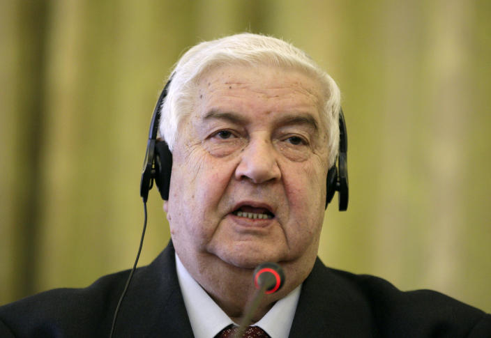 Syrian Foreign Minister Walid al-Moallem speaks during a joint news conference with his Iranian counterpart Ali Akbar Salehi, unseen, in Tehran, Iran, Saturday, March 2, 2013. The Syrian and Iranian foreign ministers on Saturday accused the United States of double standards over the Obama administration's decision to provide aid to rebels fighting to topple President Bashar Assad, saying this will only prolong the conflict. (AP Photo/Vahid Salemi)
