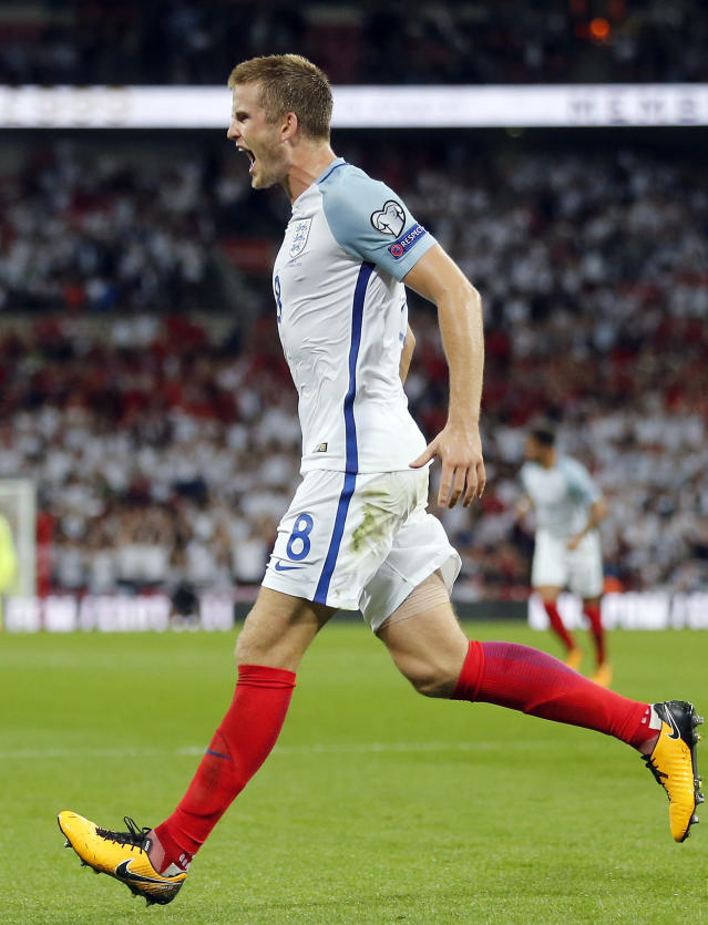 <p>England's Eric Dier celebrates after scoring his side's first goal during the World Cup Group F qualifying soccer match between England and Slovakia at the Wembley stadium in London, Great Britain, Monday, Sept. 4, 2017. (AP Photo/Frank Augstein) </p>