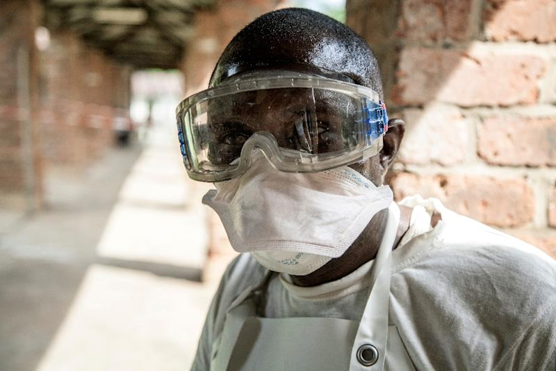 A health worker wearing protective equipment at a hospital in DRC's Bikoro, the rural region where the Ebola outbreak was first reported