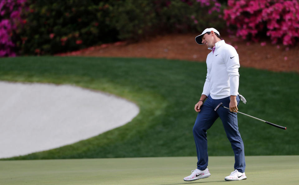 Rory McIlroy, of Northern Ireland, reacts to a missed putt on the 13th hole during the final round of the Masters on Sunday. (AP)